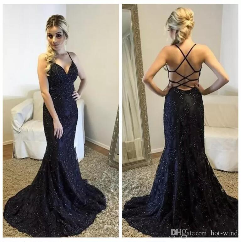 Dark Navy Sexy Lace Mermaid Prom Dresses 2020 Straps V Neck Lace Appliques Beading Criss Cross Straps Long Formal Evening Party Gowns