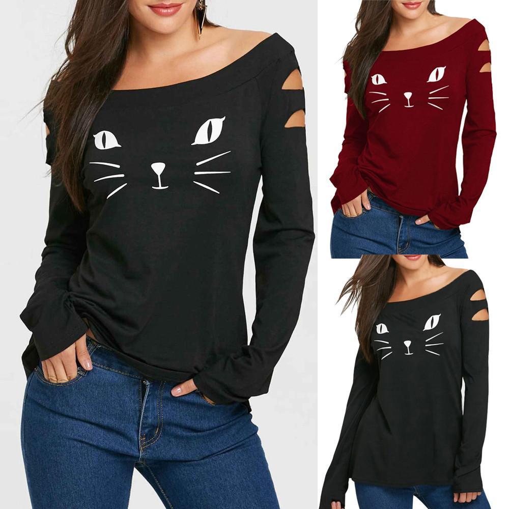 1ac155418a232 Acheter Mode 2019 T Shirt Femmes Belle Chat Cold Shoulder Loose Casual T  Shirt À Manches Longues Tops Roupa Feminina Vetement Femme De  27.68 Du  Jamie06 ...