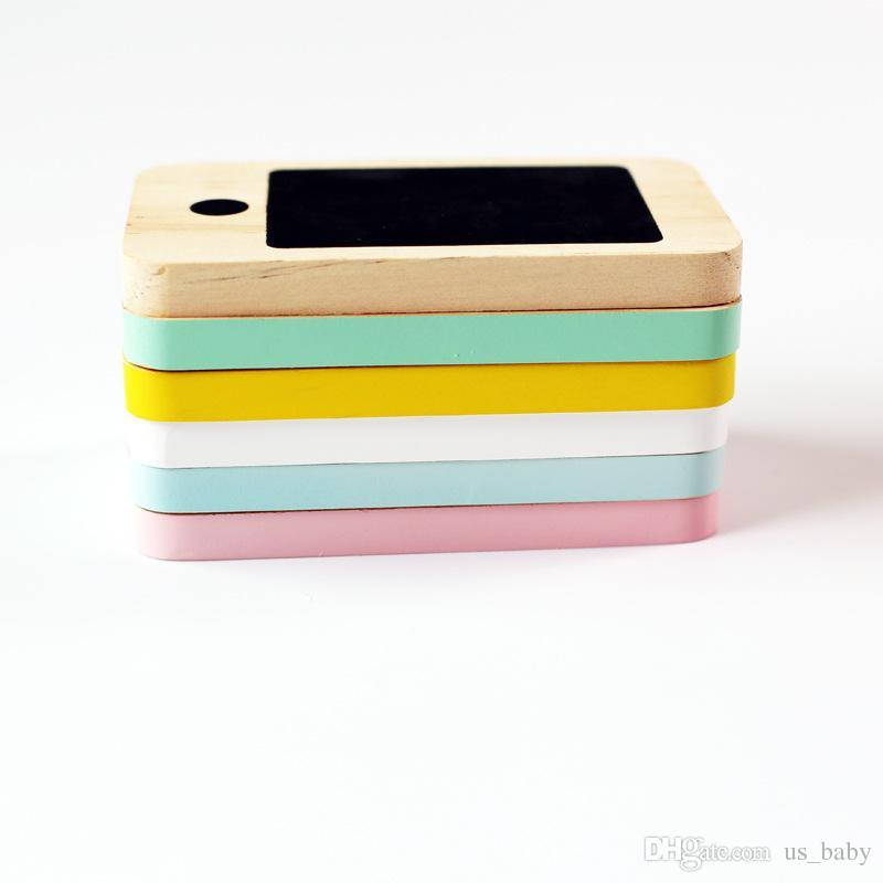 Téléphone en bois pour enfants Jouets pour enfants Figurines Miniatures nordique Accueil Début Babillard téléphone portable Chalkboard Cadeaux