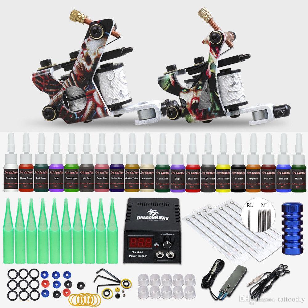 Lowest Price Beginner Tattoo Kit 2 Guns 20 Inks Power Supply To USA ...