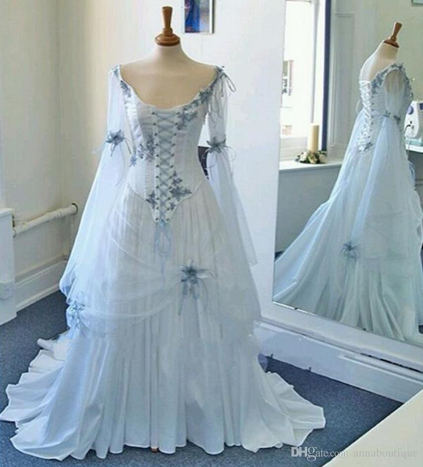 Discount 2018 Vintage Celtic Wedding Dresses White And Pale Blue ...