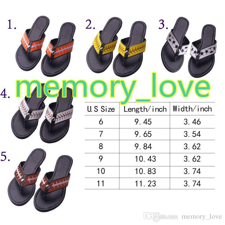 2018 New Baseball flip flop yellow softball white baseball stitching flip flop Slippers Sandals Mens Beach sports Slippers