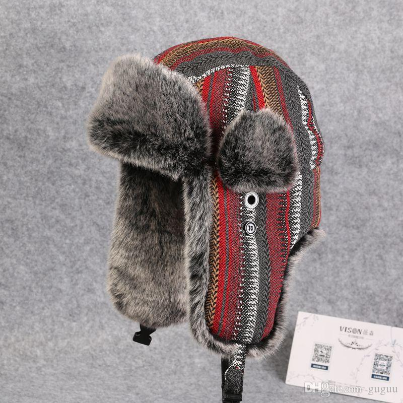 ad3a0c29857 2019 China Eastnorth Faux Fur Leifeng Bomber Hats Women Color Striped  Adjustable Trapper Hats Men Outdoor Skiing Snow Caps Adult Russian Ushanka  From Guguu