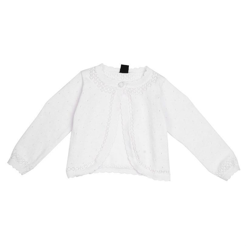 f8ffd0d770c6 White Kids Girls Lace Flower One Button Closure Knit Bolero Shrug ...