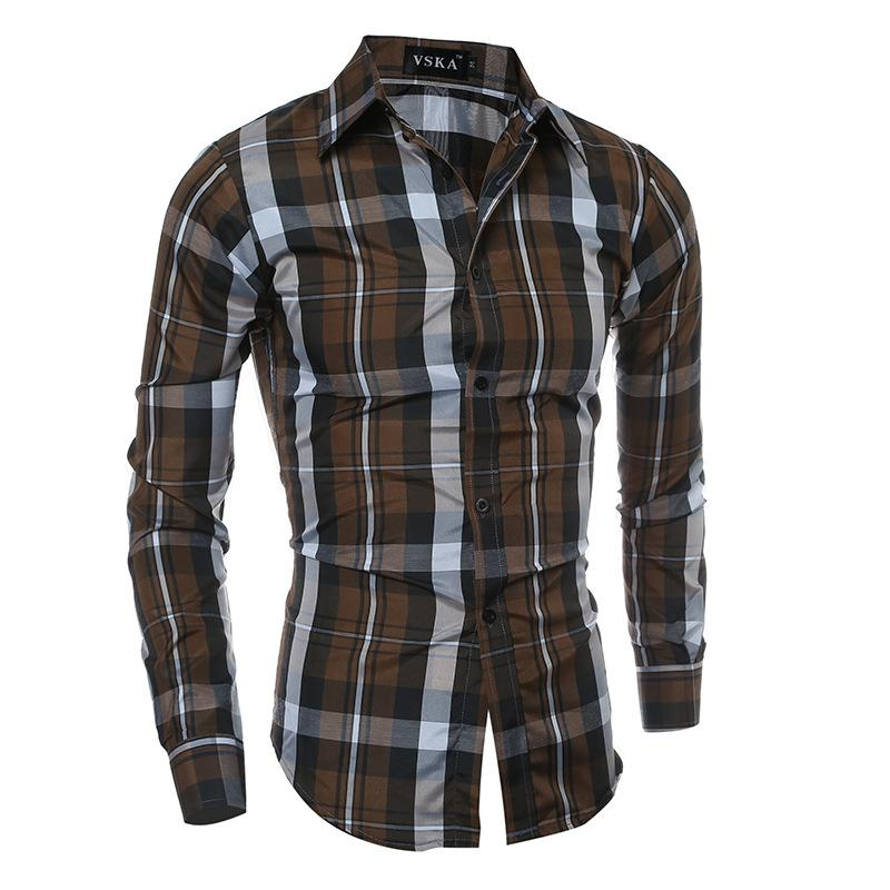 a0c476a0a43 2019 Mens Plaid Shirts Long Sleeve Casual Button Down Clearance Shirts For  Men High Collar Big And Tall Large Size From Aaronliu880