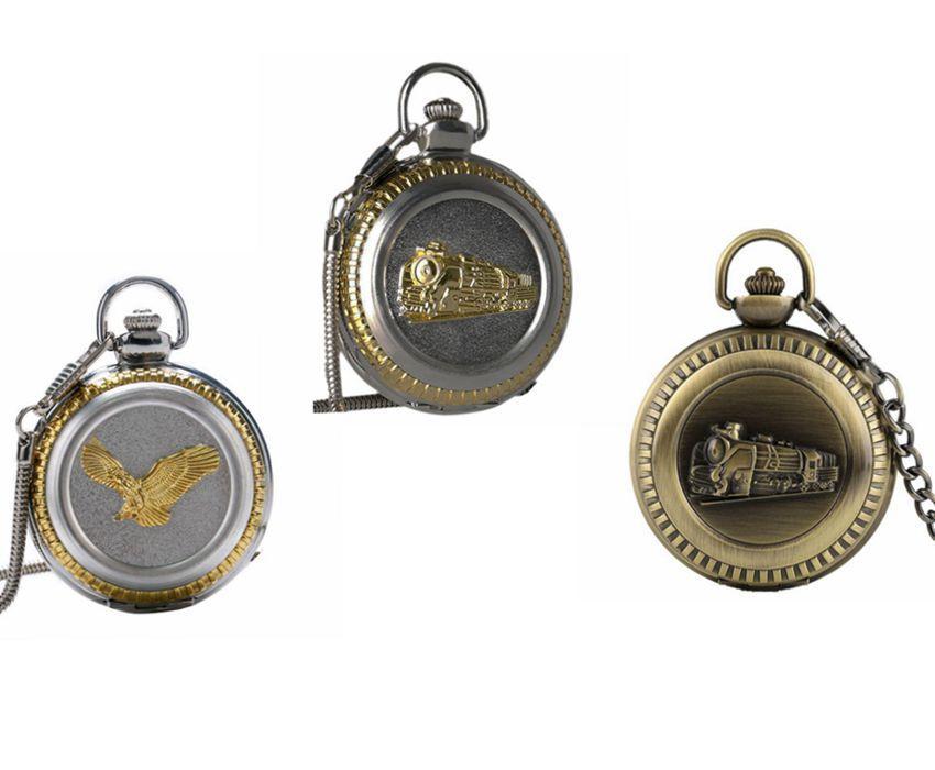 114e130fd35 Compre Bronze Vintage Relógio De Bolso De Quartzo Correndo Trem A Vapor  Águia Big Size Presente Pingente Retro Caçador Cheio Relógio Cadeia  Presente Para Os ...