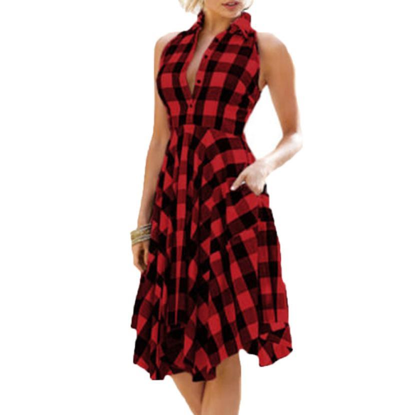 cd7ca7d754 Women Vintage Bodycon Plaid Sleeveless Zipper Irregular Hem Evening Party Dress  Retro Style Red Big Swing Dresses Vestidos Black Dress Womens Cocktail Long  ...