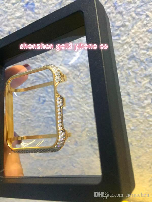 new 38mm/42mm Crystal Ultra Thin Hard alloy real gold plated with real diamond crystal Case Cover bumper for Apple Watch Series 1 Series 2