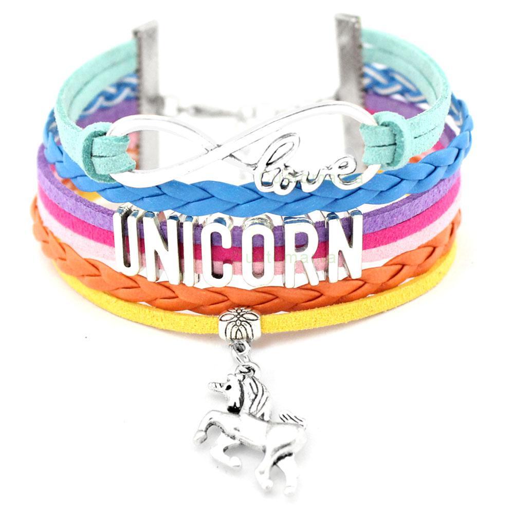 Unicorn At Bilezikler Hayvan Kalp Infinity Aşk 18 * 25mm Dome Cabochon Charm Deri Takı Kadın Erkek Kız Erkek Unisex Hediye