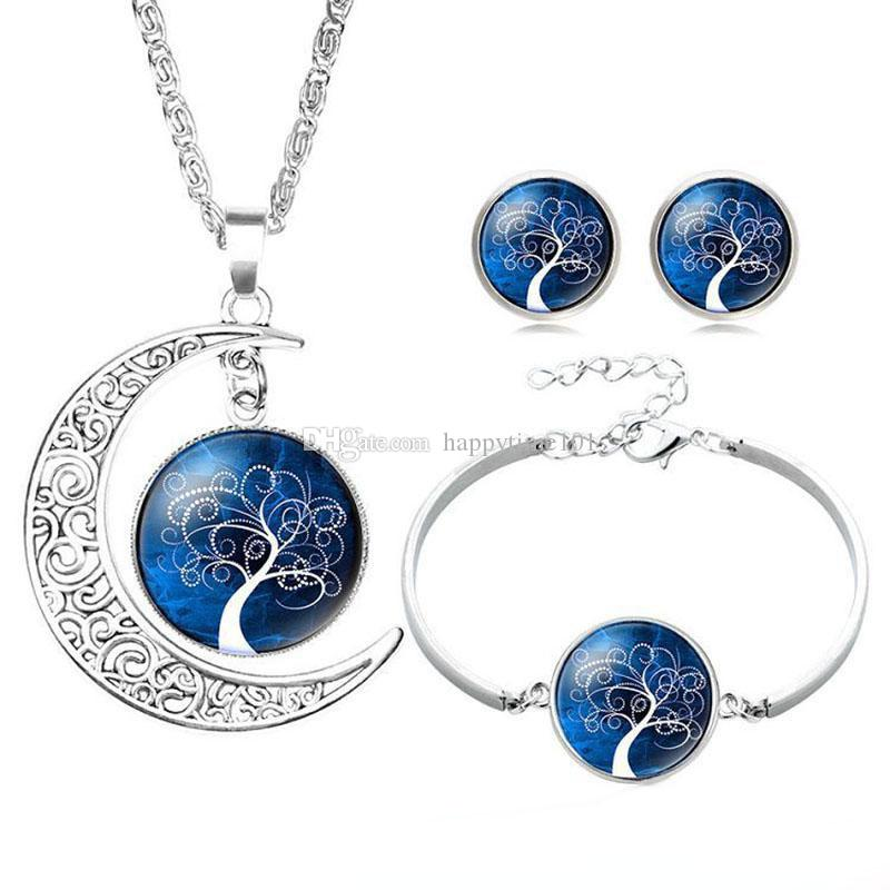 Hollow Carved Moon Elf Peter Pan Life Tree Time Gem gemstone Necklace earring bracelet pendant For Women Girl Dreamlike jewelry set