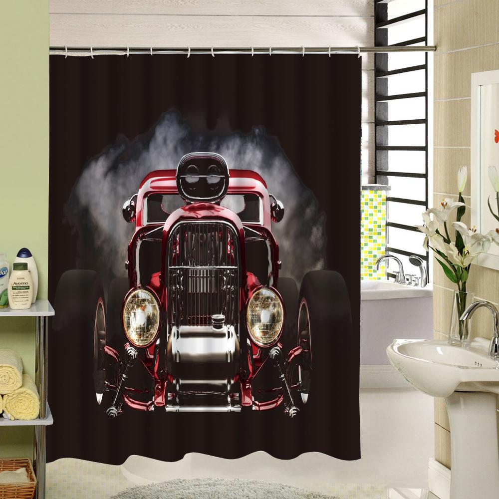 2018 Bath Curtain Black Car Design Custom Shower Polyester 3D Printing Liner Decoration For Window Bathtub From Baibuju8 2251