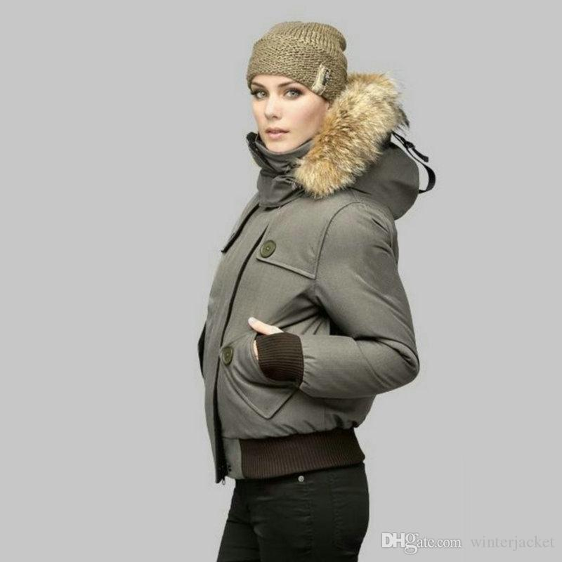 Top Quality Short Jacket Women thickening Female Clothes Metal magnet button real raccoon fur collar hood Winter down jacket