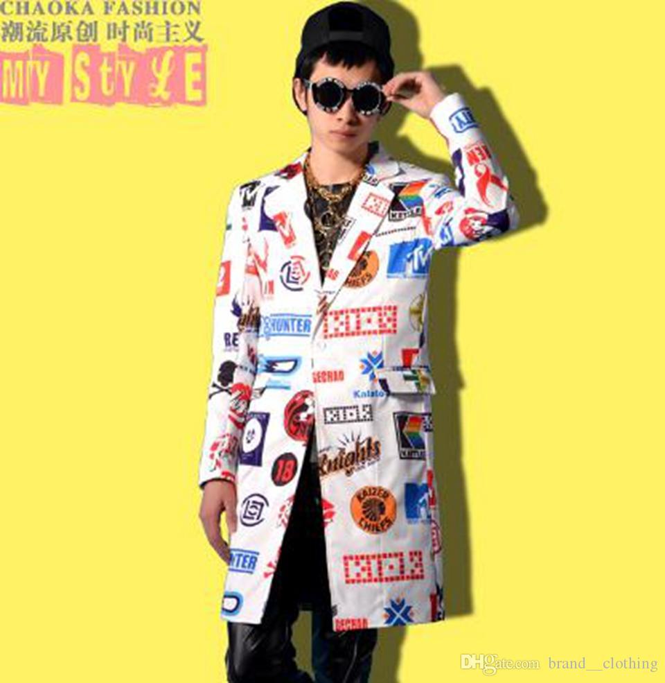 Tendência da moda masculina na nova edição han dança palco da cantora sob longas discotecas bares em imprimir trajes casaco M - 2 xl