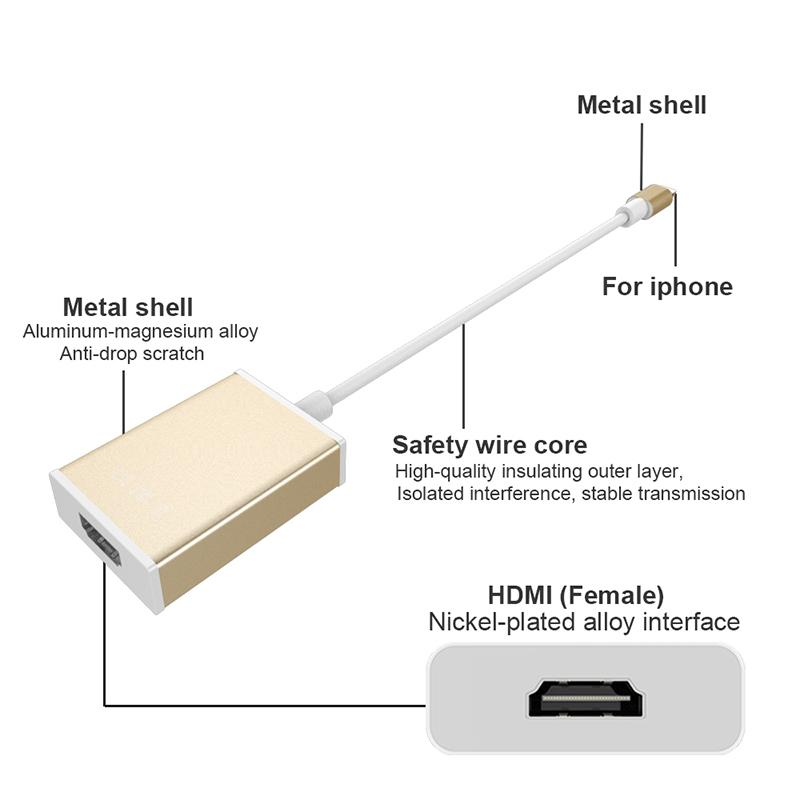 1080P 8 Pin To HDMI Converter HDTV TV AV Adapter Cable For iOS Pad For  iPhone 7 6 6S Plus 5 5S to HDMI TV HDTV Adapter