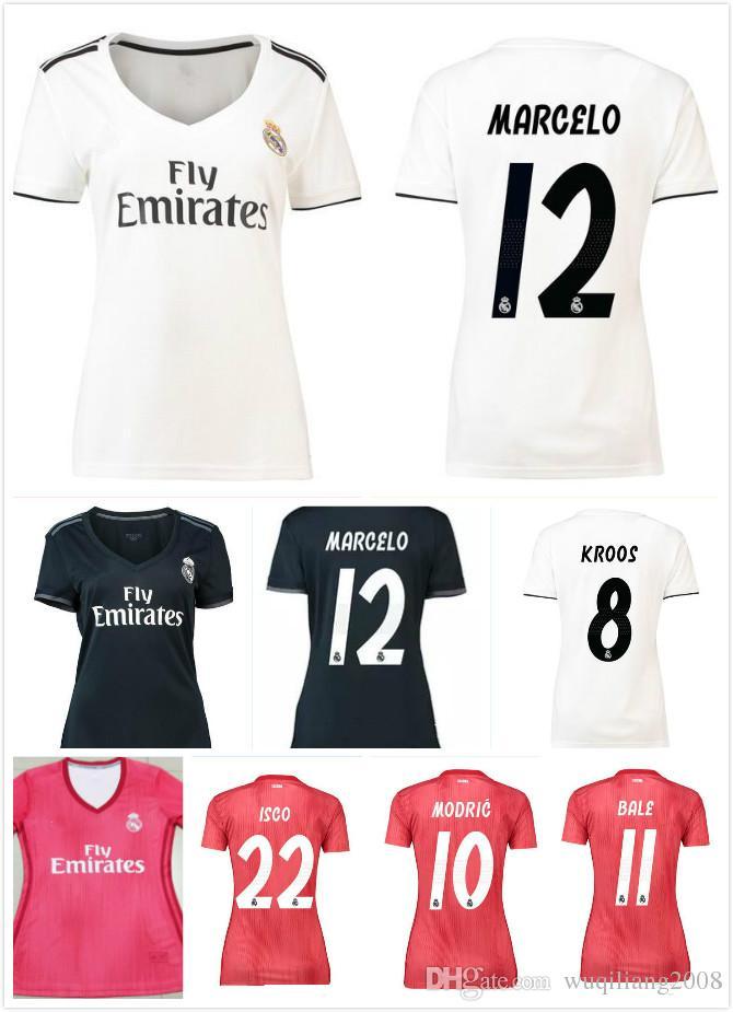 Nuevo ASENSIO 18 19 Mujeres Real Madrid Fútbol Casa Jersey 2018 2019 Dama  NAVAS RONALDO BALE RAMOS ISCO MODRIC HOMBRE Camiseta De Fútbol De Visitante  ... bf51a566ecb18