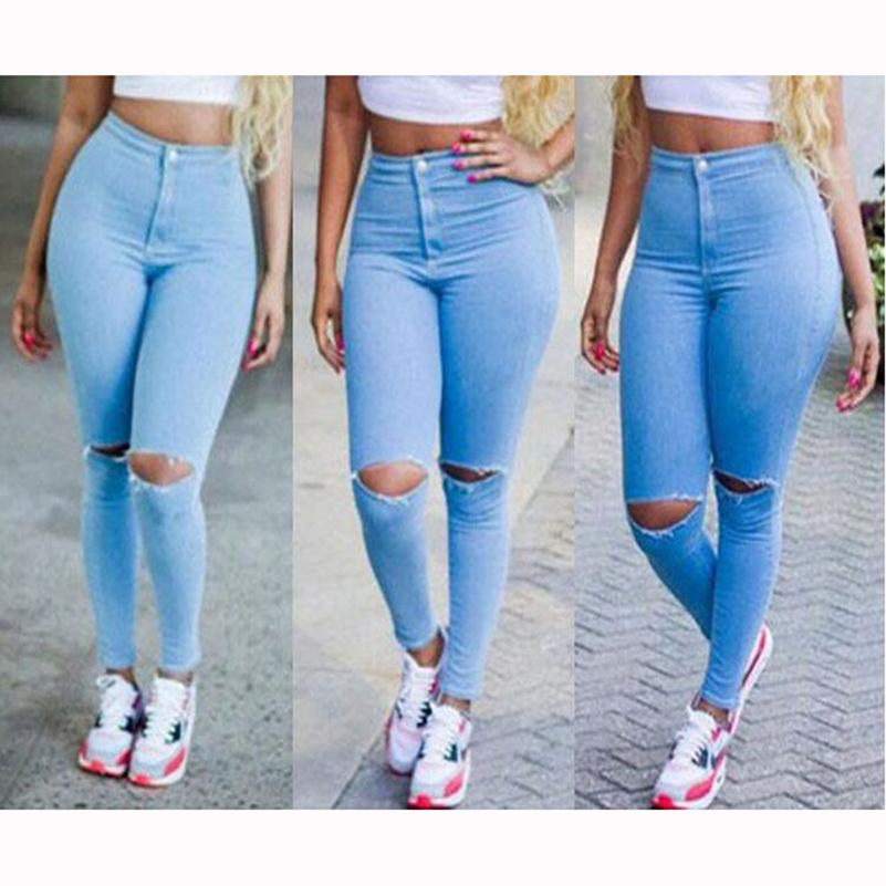 469677363e6 2019 Sexy Ripped Jeans For Women High Waist Slim Blue Boyfriend Jeans  Leisure Hole Skinny Pencil Pants Summer Denim Pants 40@Y6017B From  Hongxigua, ...