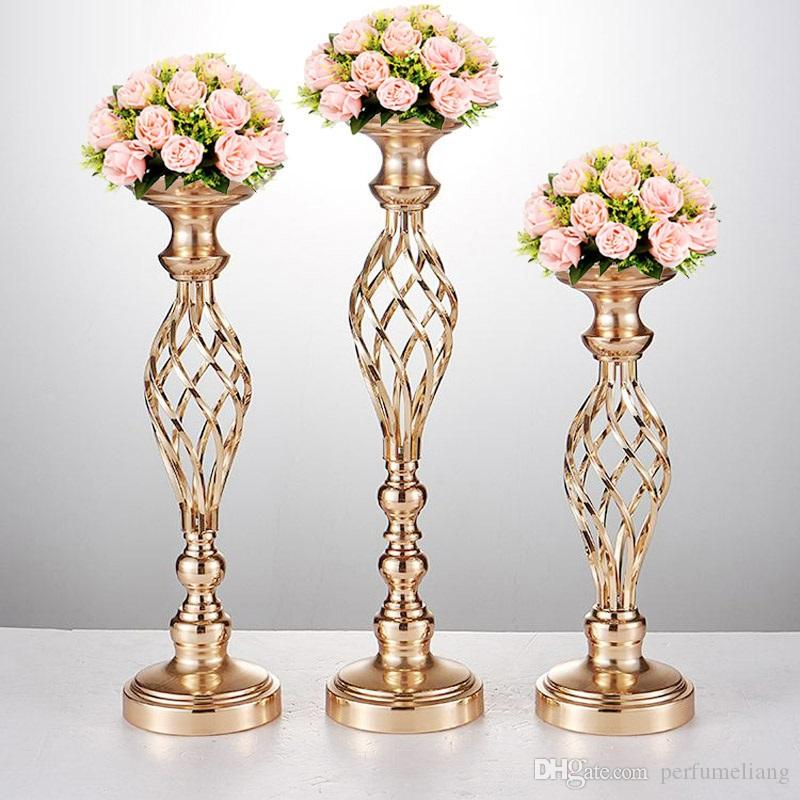 Flowers Vases Candle Holders Road Lead Table Centerpiece Metal Gold
