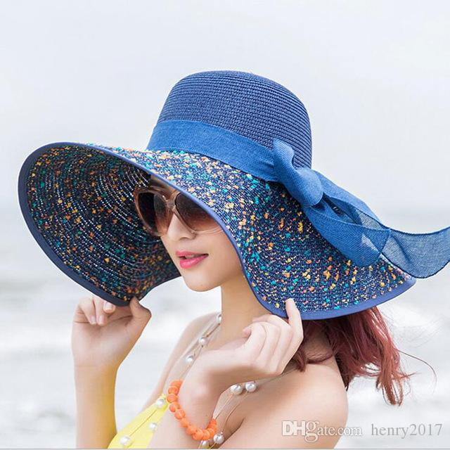 Women S Beach Hats Caps 2018 Summer Fashion Foldable Chiffon Floppy Sun Hats  Casual Ladies Sombreros Bowknot Hat Ladies Fedora Hats For Women Hat Shop  From ... 8bd45c32b62