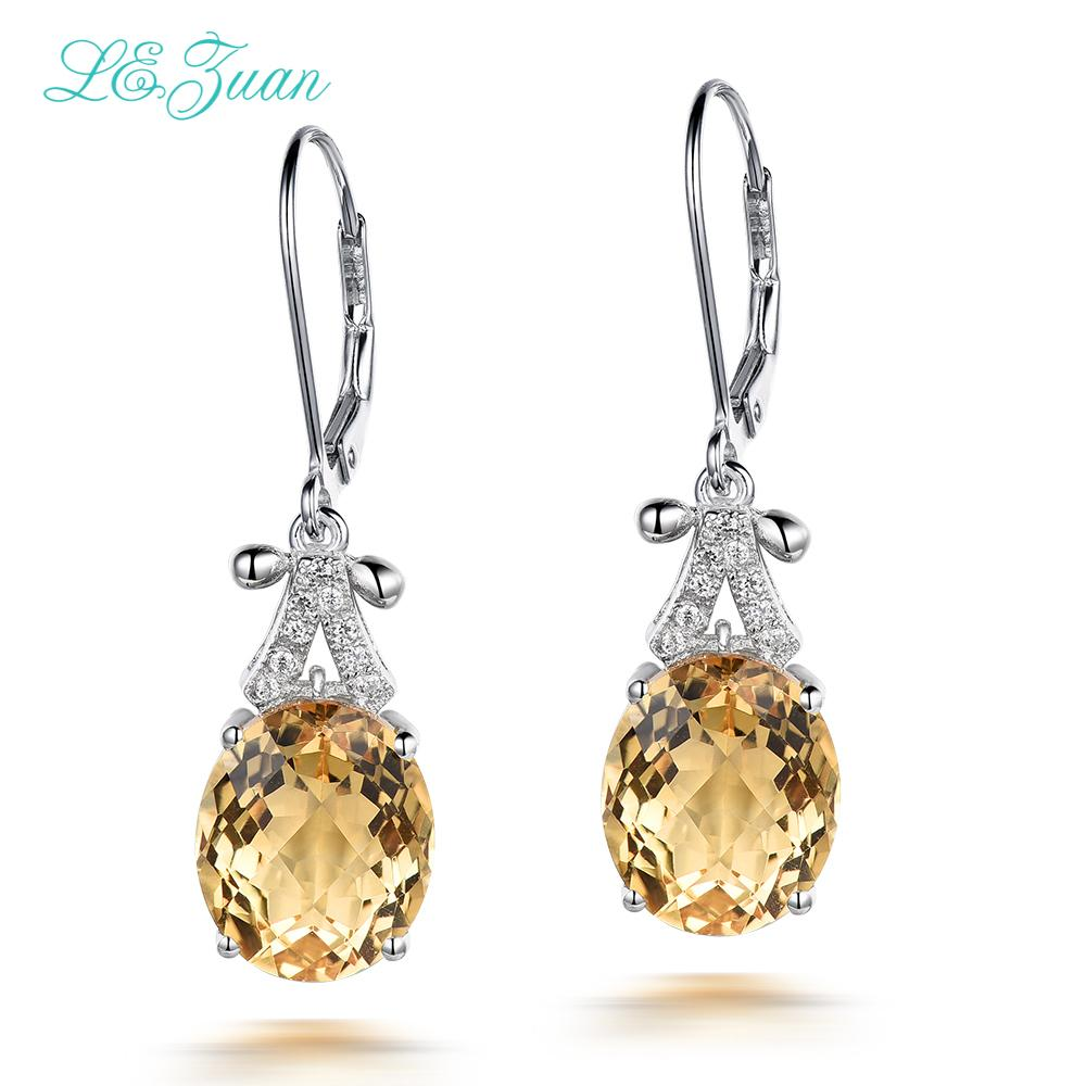 I&zuan 4.75ct Natural Citrine Drop Earrings Real 925 Sterling Silver Fine Jewelry Trendiest Earrings For Women Aretes E0070-W05Y1883003