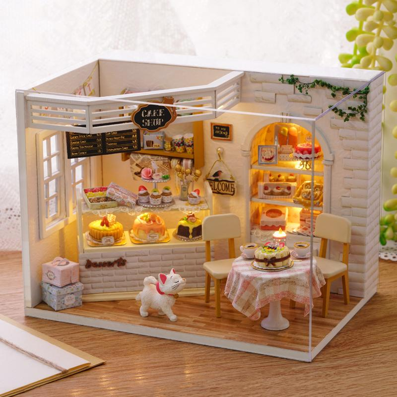 Doll House Diy Miniature Dollhouse Model Wooden Toy With Furniture