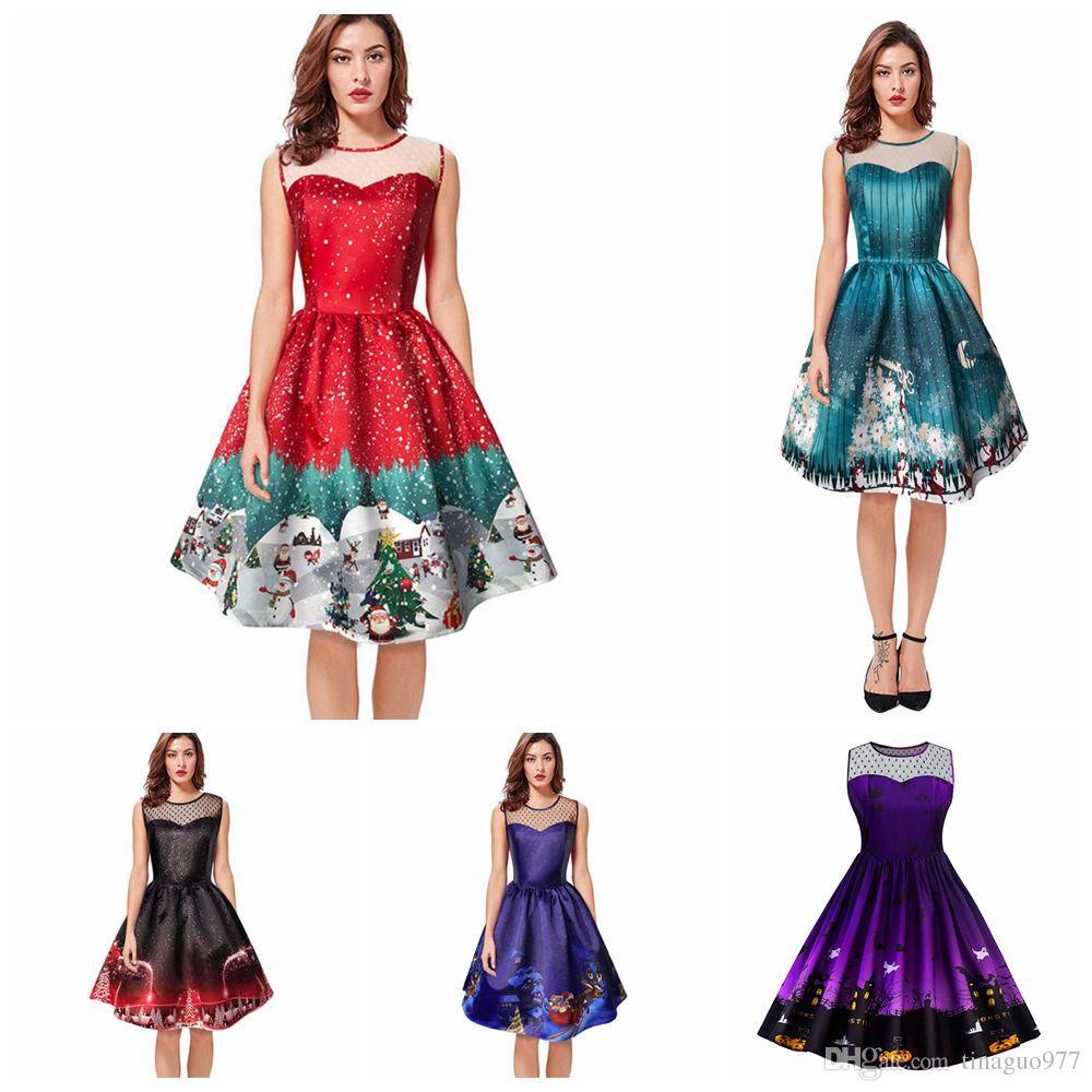 2018 womens vintage christmas dress gifts santa claus print lace pin up retro round neck sleeveless swing party dress from tinaguo977 1616 dhgatecom - Vintage Christmas Dress