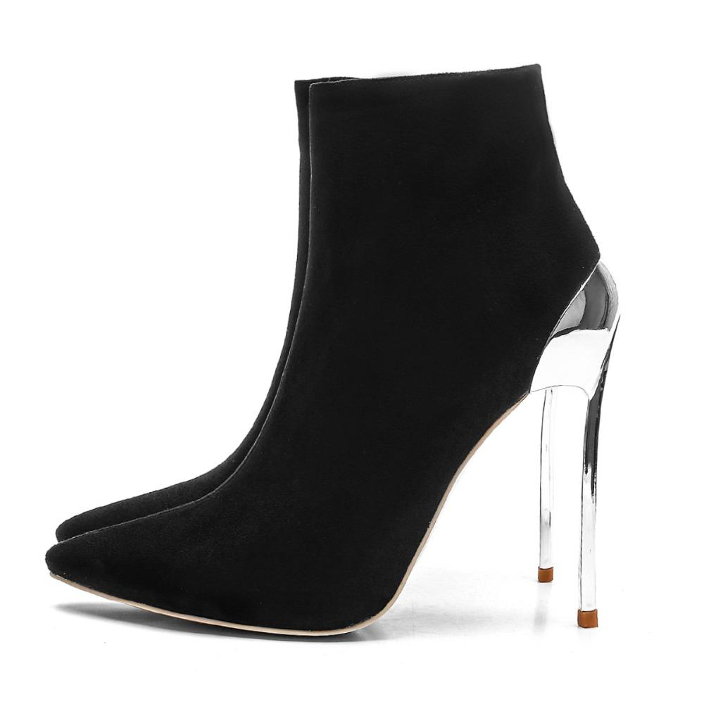 98a26316e971 Fashion Black Pointed Toe High Heel Boots Hot Metal Heels Short Boots Solid Ankle  Shoes European American Ladies Party Shoes Mens Dress Boots Green Boots ...