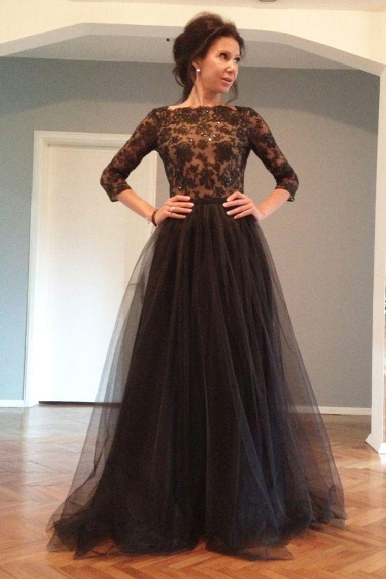 Black Sequin Lace Bodice Half Sleeve Gorgeous Long Elegant Backless Prom Dresses 2018 Tulle New Graduation Dresse Plus Size