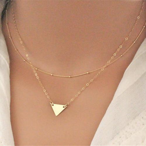 5bfd573cfd54e Women Simple Stylish Multilayer Chain Geometric Triangle Pendant Short  Necklace women s necklace