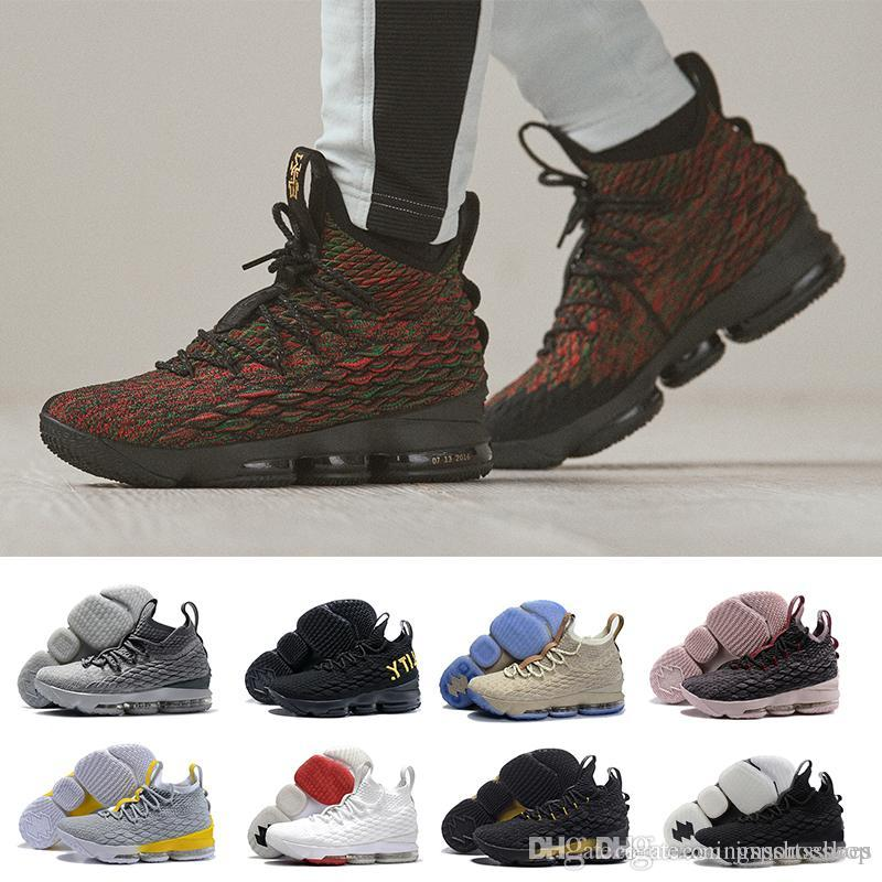 b46642d5399d 2018 New High Quality Lebron 15 Men Basketball Shoes Black Gum Sports Shoes  Mens Running Shoes Cavs Ashes Ghost Lebrons Sneakers Duffle Bags Beach Bags  From ...