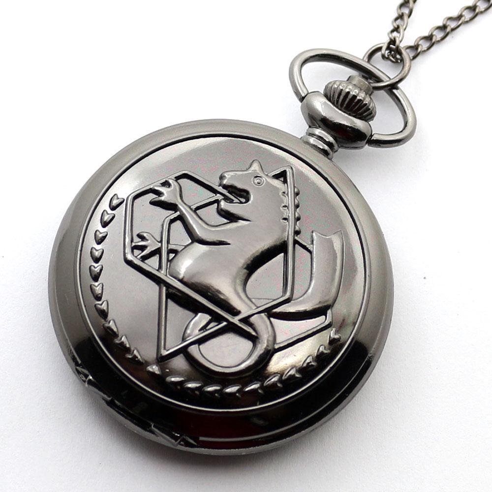 Set di gioielli in argento nero Fullmetal Alchemist orologio da tasca al quarzo con tasca in pelle e scatola in metallo