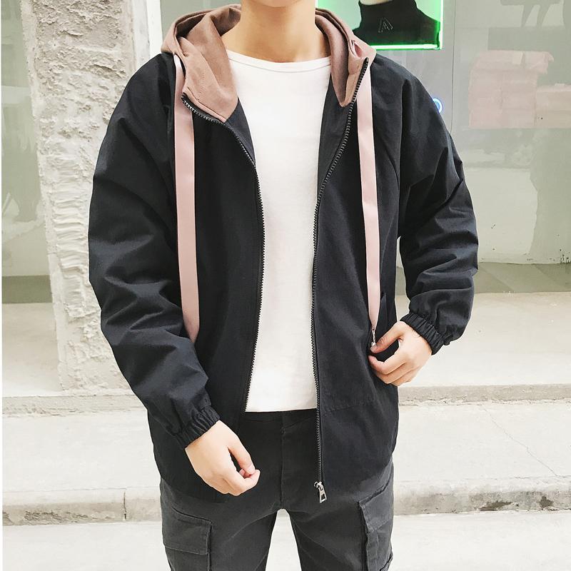 2018 Fashion Jacket Manteau Hommes Patchwork Chapeau Noir Jaune À Capuche Outfit Vestes Hiphop Streetwear Casual Hommes Coupe Vent Vestes