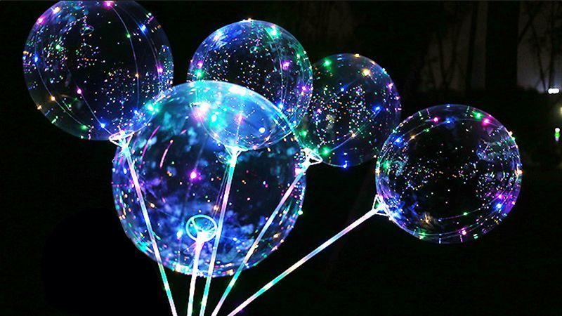 LED Transparent Effacer BoBo Balloon 18 pouces Lumière Coloré Vague Helium Ball pour Anniversaire De Mariage Fête De Noël Décoratif Light Up