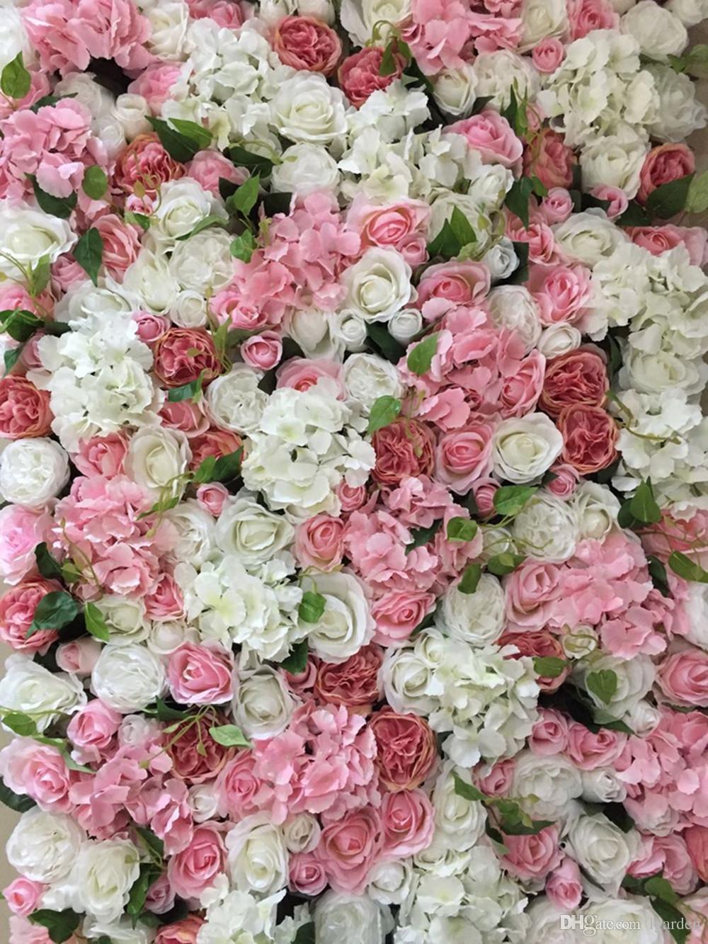 Fleur artificielle blanc bleu soie rose mariage fond pelouse / pilier route plomb marché décoration