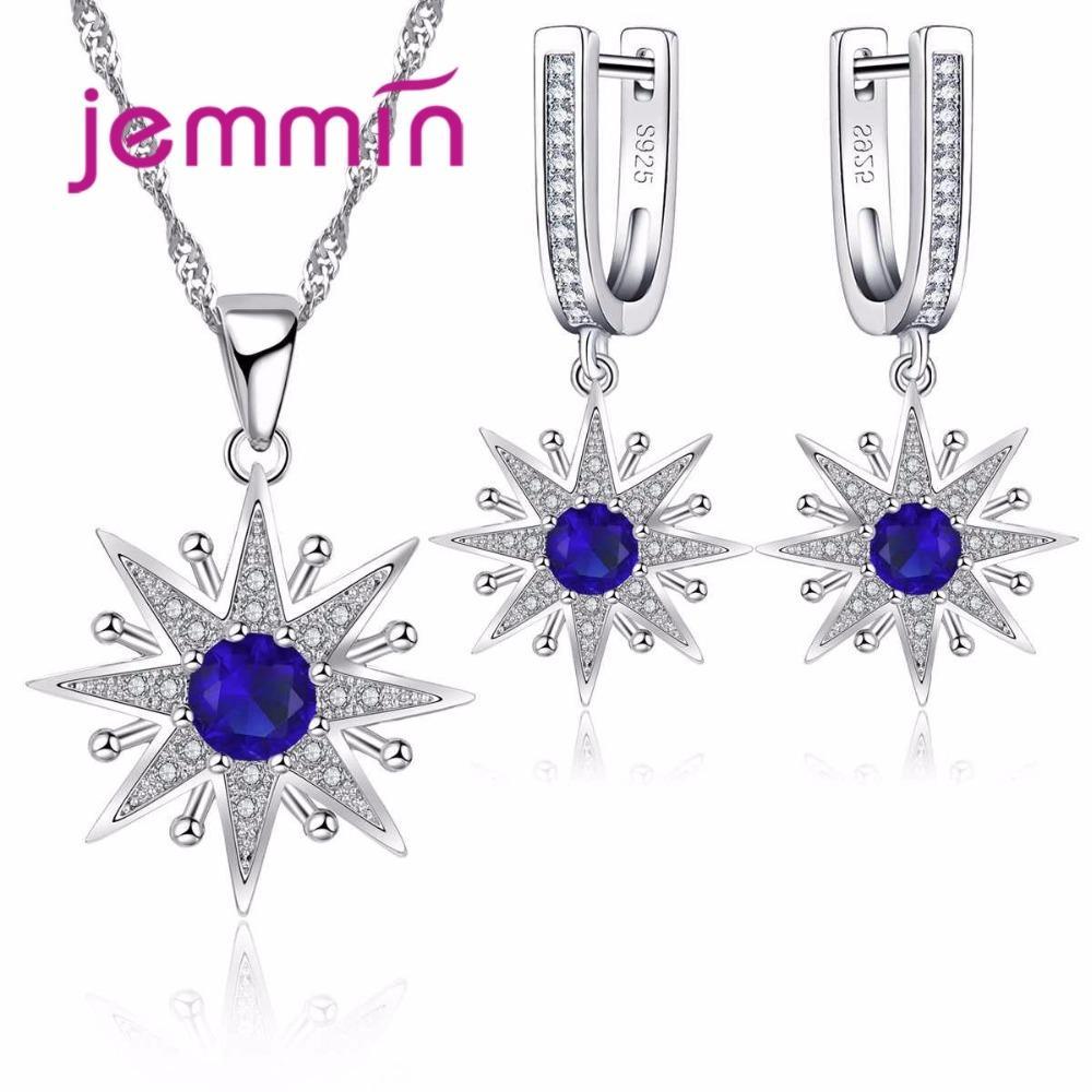 f565c1bff8db Juegos de joyas Jemmin para mujer azul cristal 925 colgantes de plata  colgantes y pendientes conjunto de joyería nupcial de la boda