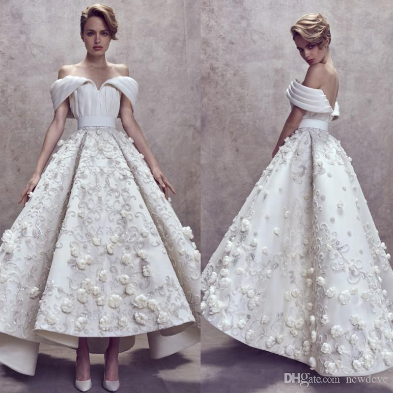 0ac4c3cdab9 Ashi Studio Ball Gown Wedding Dresses Custom Made Fully 3D Floral Embroidery  Off The Shoulder Dubai Arabic Ankle Length Bridal Gowns Cheap Wedding Gowns  ...