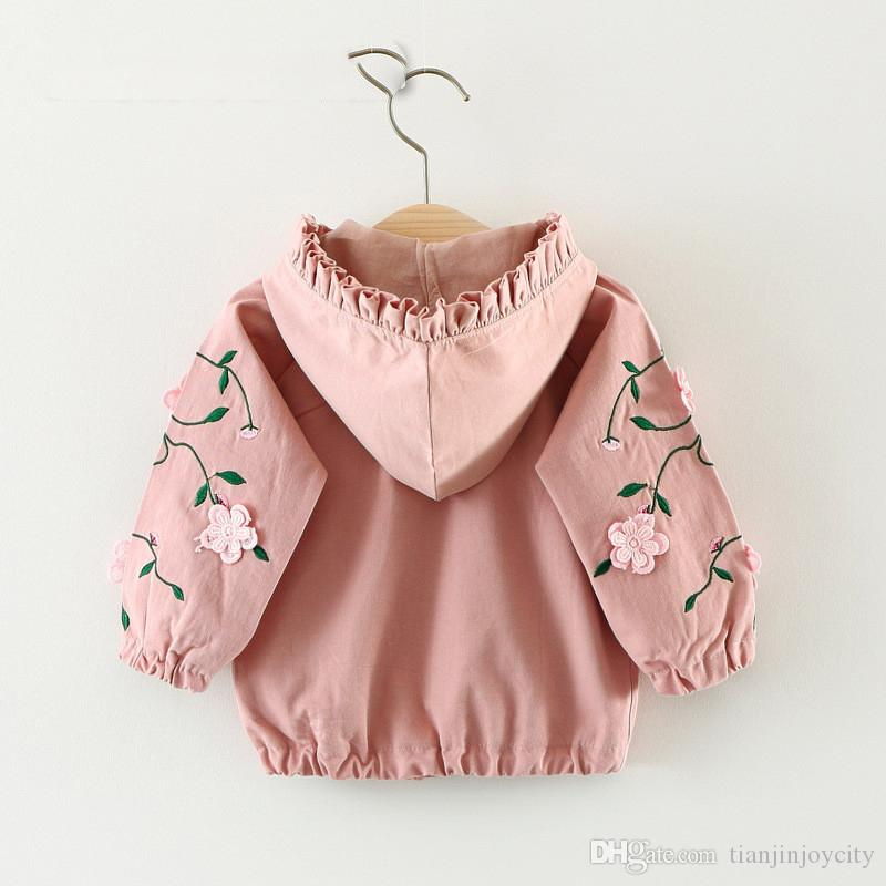 85b06856e Baby Girl Jacket Coat Spring Autumn Hooded Embroidery Infant Toddler ...