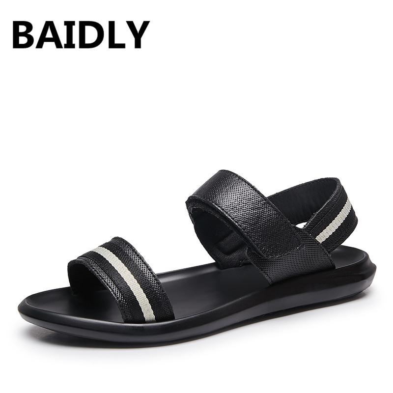 9c54b0bd0 BAIDLY Men Leather Sandals Fashion Genuine Leather Walking Shoes Summer  Casual Sandals Black Beach Hook Loop White Wedges Cheap Shoes For Women  From ...