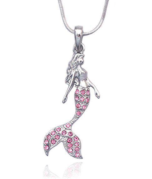 Collar de cristal Rhinestone Sirena Colgante Declaración Collar para Mujer Chica Joyería moda suéter accesorios Collar Llamativo
