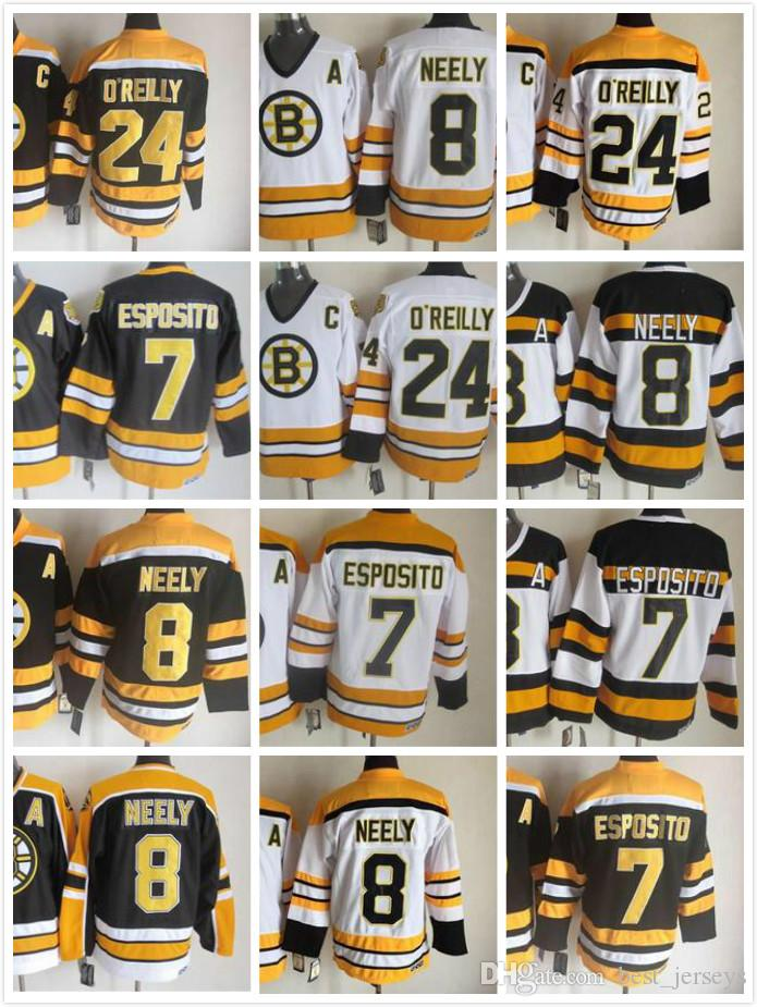 Boston Bruins Throwback 7 Phil Esposito Jersey Men 8 Cam Neely 24 Terry  O Reilly Ice Hockey Jerseys 75th Vintage Black White Top Quality UK 2019  From ... 717de8d85