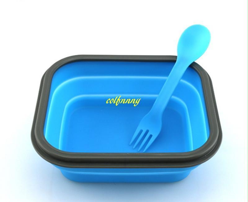 1 шт. / лот Бесплатная доставка силиконовые складной обед коробки микроволновая печь обед Box открытый пищевой контейнер Бенто коробка кухня посуда