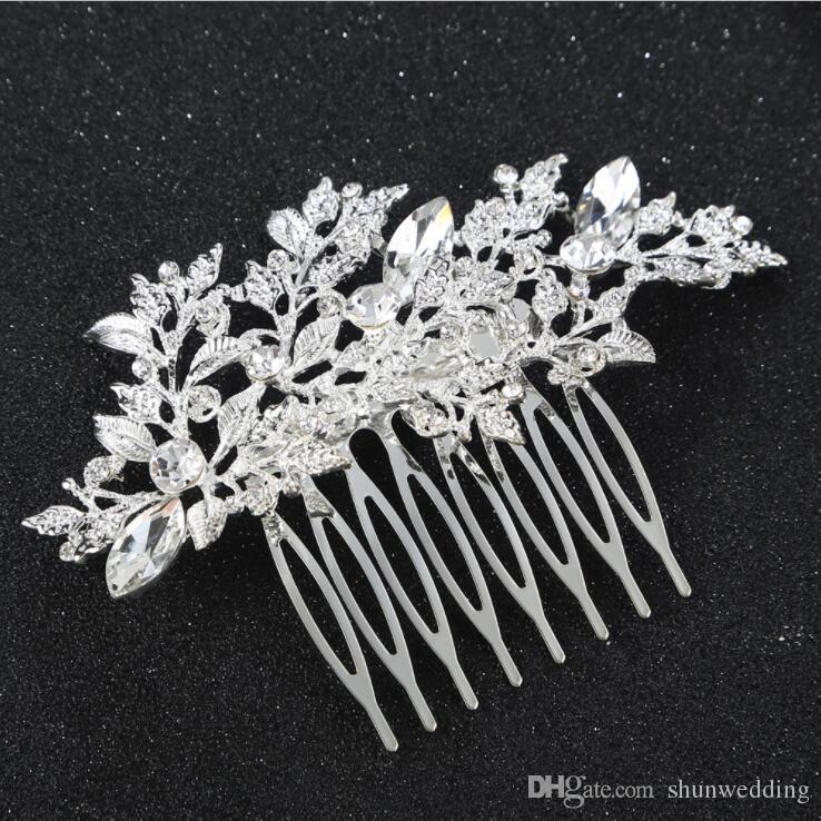 New Women Flower leaf Crystal Rhinestone Hair combs Hair Clip Wedding Bridal Accessories Headwear tiaras headpieces