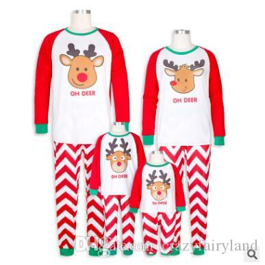 1e5451c992 Christmas Pajamas Set Family Matching Outfits Baby Cute Elk Striped Sleeve Sleepwear  Xmas Mother And Daughter Father Son Matching Clothes Matching Holiday ...