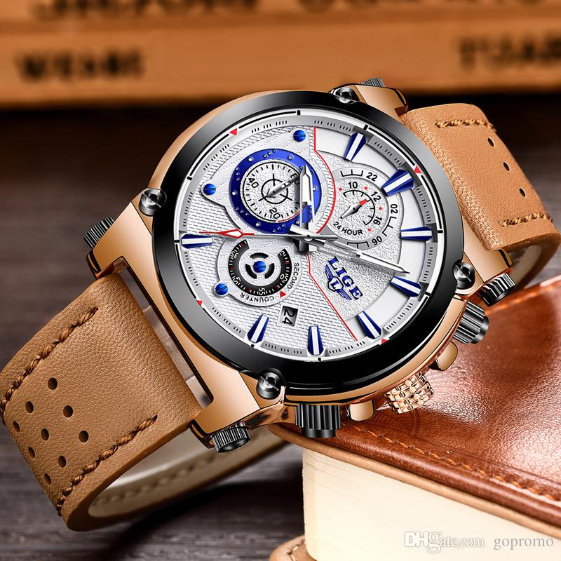Lige watch men sport quartz fashion leather clock mens watches top brand luxury waterproof for Lige watches