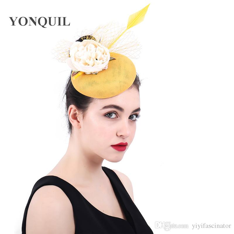 654c5716142 Yellow Color Fascinators for Women Elegant Fancy Floral Pillbox Hat ...