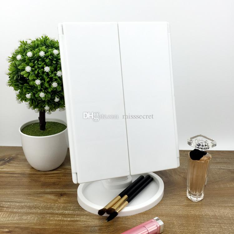 Three Folding 22 LED Light Makeup Mirror With 1X/2X/3X Magnifying Mirror Adjustable USB Tabletop Countertop Mirror 180 Rotating DHL Free