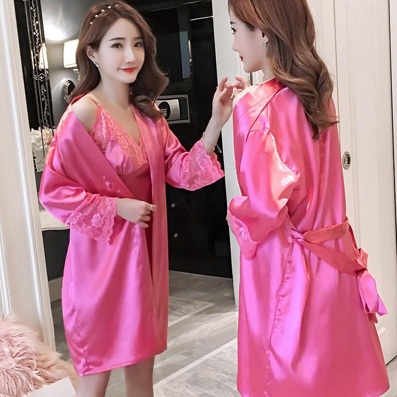 7f8b1d1bc630 2019 2018 Autumn Women Robes Gown Sets Sexy Lace Satin Sleepwear Pajamas  Nightwear Silk Night Skirts Home Clothing Sleep Lounge With From Manxinxin