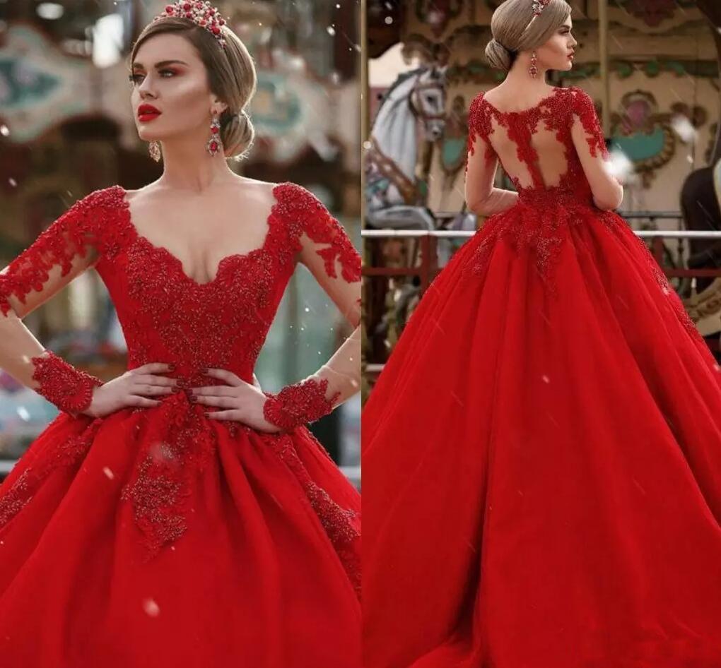 7d5412d17a Compre Apliques Rojos Vestidos De Fiesta De Satén Largo Y Profundo V Cuello  Abalorios Vestidos De Quinceañera Vestido De Noche Ilusión Manga Larga  Vestidos ...