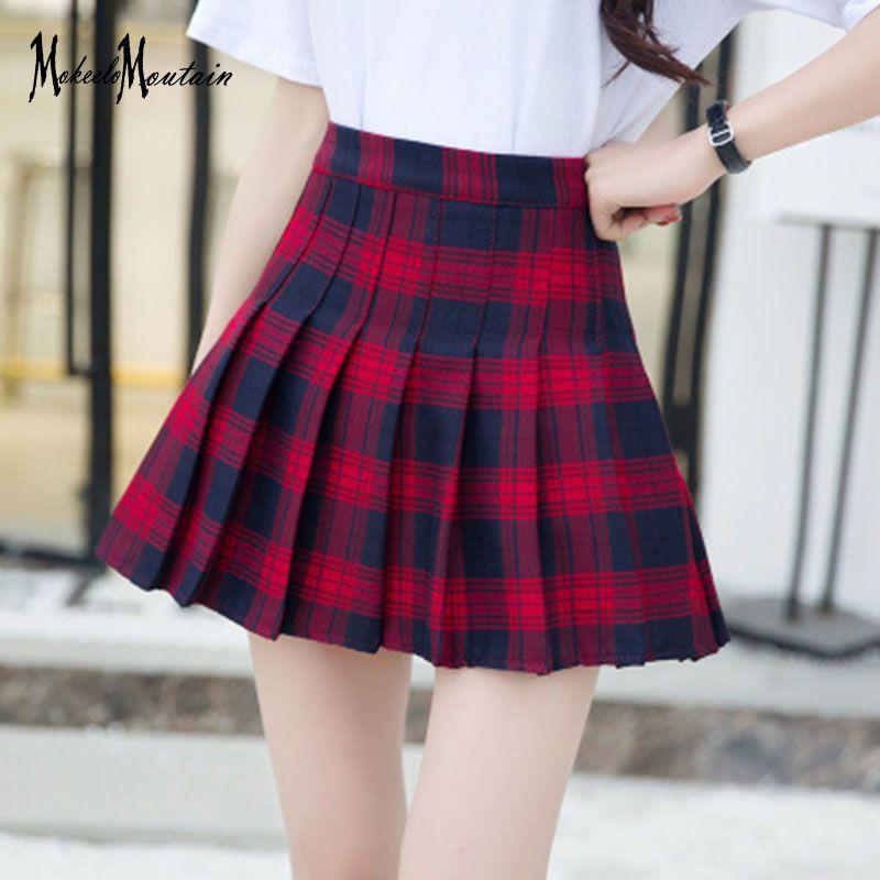 f35a63180cc8e3 Harajuku Lolita Rose Rouge Plaid Micro Jupe Femmes D été Harajuku Mode  Coréenne Plissé Mini Jupes Écolière Streetwear T A67