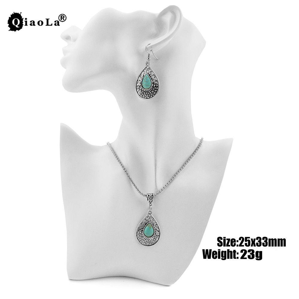 2017 neue 3 teile / sätze Wassertropfen Grünen Stein Anhänger Halsketten Hohl Silber Tibetischen Baumeln Ohrringe BOHO Grün Stein Schmuck Sets