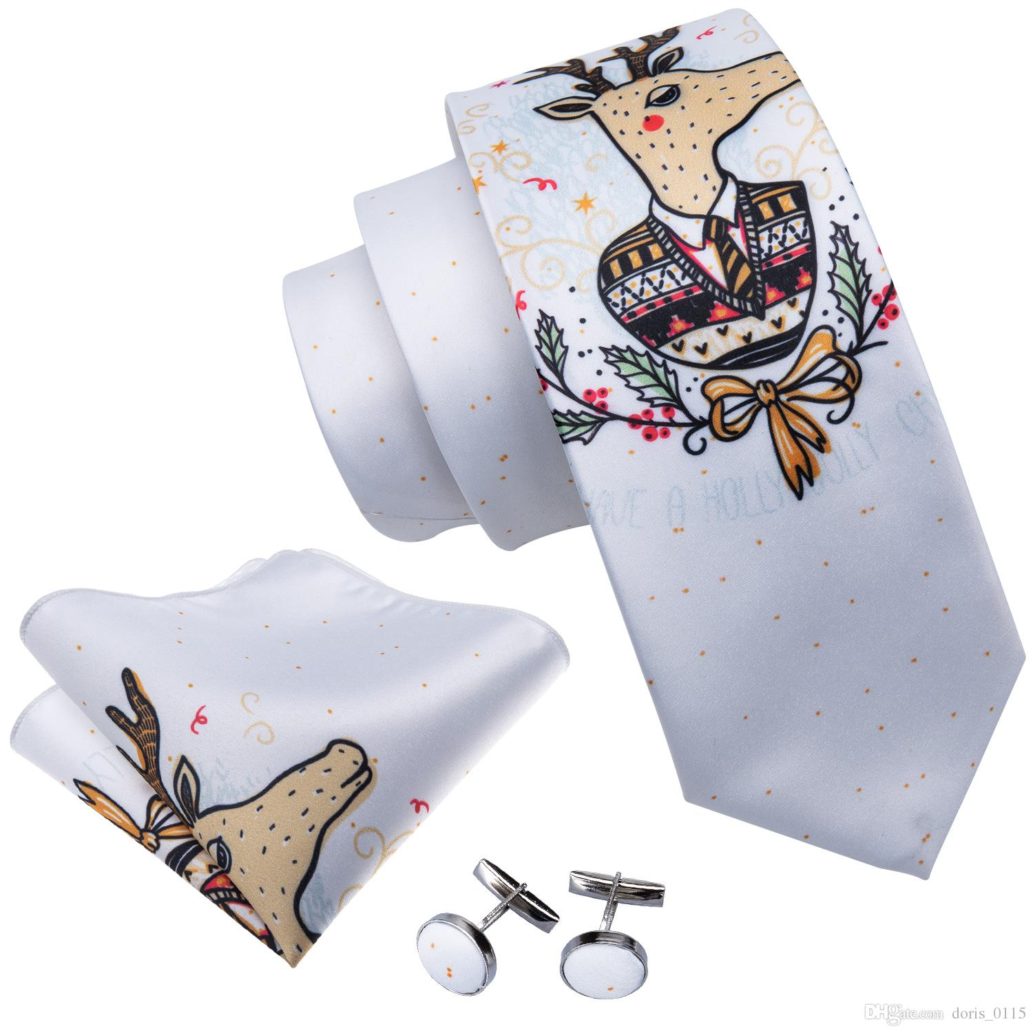 2018 Christmas Mens Ties White Mens Tie Set With Cute Reindeer ...